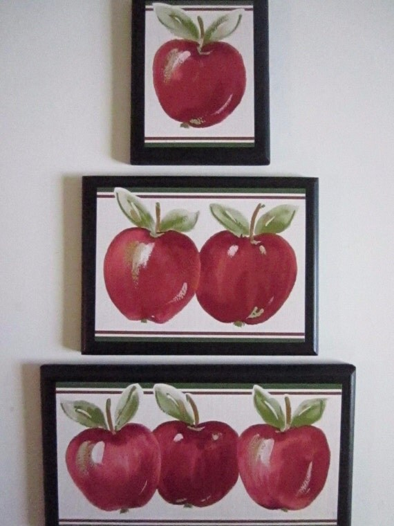 Apple signs set of 3 kitchen wall decor plaques country style for Apple decoration kitchen