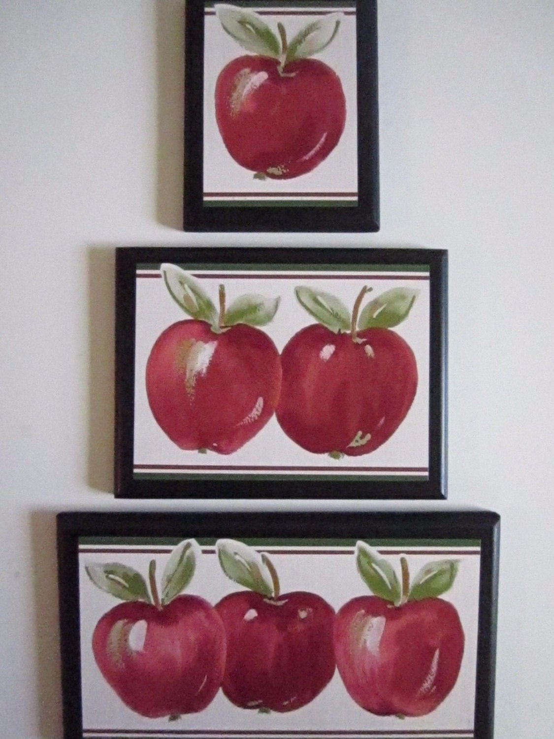 Apple Signs set of 3 Kitchen Wall Decor by ozarkmtnhomestead