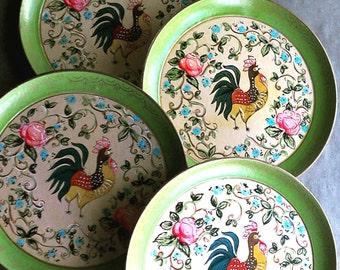 Vintage Paper Mache Rooster Plates by ISCO Kitchen Decor Hand Painted French Country Farmhouse Decor
