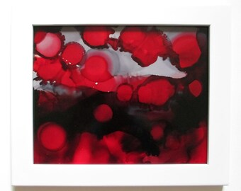 Alcohol ink painting: Red Moon Eclipse, moons, universe, red sun, red moons, abstract art, red gray art