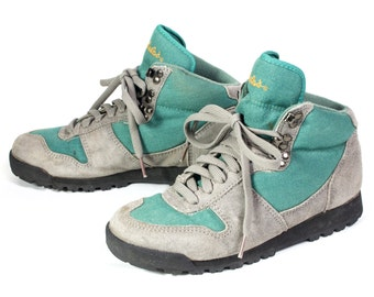 VTG 80's Green & Gray Hiking Sneakers size 7 1/2 Womens Suede Leather Lace Up Tennis Shoes Walking Boots Grey Ankle High
