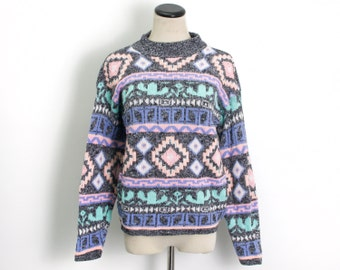 VTG 90's Southwest Geometric Sweater (Medium) Long Sleeve Heathered Gray Geo Cactus Pattern Pullover Sweater