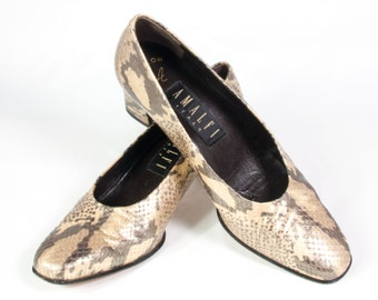 VTG 90's Gold Snake Embossed Leather High Heels size 7 1/2 Womens Snakeskin Pattern Leather Pumps