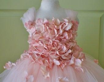 Flower girl dress Blush Pink Dress, Pink Blush Pink tutu dress, flower top, hydrangea top, toddler tutu dress Cascading flowers