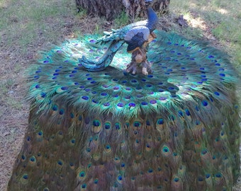 "Peacock Feather Tablecloth with EXTRA FLOOR INCHES - 24""-60"" Table Diameter - Custom Created for You!"