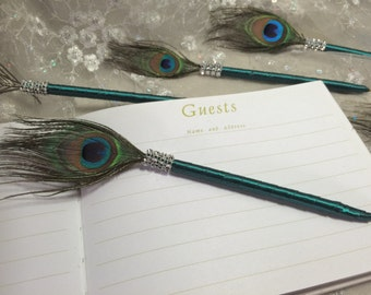 PEACOCK Feather Pen with BLING in Forest Green