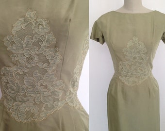 SALE, Size 10, Silk & Lace Sheath / Vintage 1950s Dress / Parues Feinstein label / 50s Mad Men Cocktail / Party Prom or Wedding