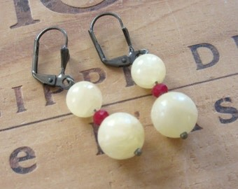 Yellow and Red Stone Earrings