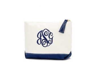 Navy Canvas Personalized Wristlet cosmetic travel Bag, monogrammed FREE - Preppy gift - clutch