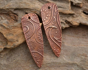 Handmade Copper Paisley Shard Component pair