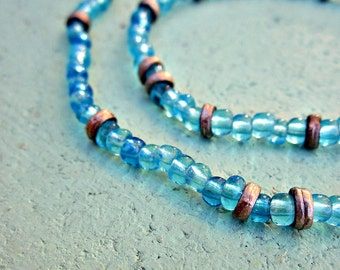 Beaded Ocean Blue Glass Necklace and Bracelet Set: Lagoon WAS 21.00