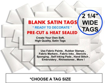 "2 1/4"" WIDE BLANK Tags - Pre-cut & Heat Sealed Ready to Decorate DIY - for bows , clothing , scrapbook , crafts , cards , invites , and more"