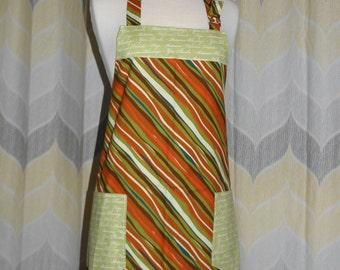 Give Thanks Autumn Thanksgiving  Kitchen Apron - Free OR Priority Shipping - Handmade Apron, Sewn and Ready to Ship!