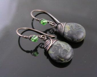 Camouflage Earrings, Wire Wrapped Earrings, Czech Glass Drop Earrings, Khaki Earrings, Czech Bead Earrings, Green Earrings, Fatigues