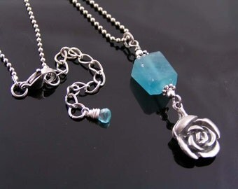 Rose Necklace with Fluorite and Apatite, Fluorite Necklace with Rose Charm, Flower Necklace, Teal Gem Necklace, Gem Jewelry