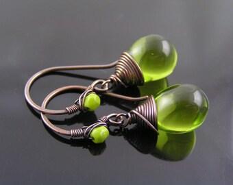 Green Earrings, Olive Earrings, Czech Glass Earrings, Crystal Wire Wrapped Ear Wires, Teardrop Earrings, Green and Black Earrings