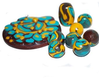 Polymer Clay Pendant and Bead Set - Chocolate Delight - One of a Kind - Handmade - Liquidation Sale