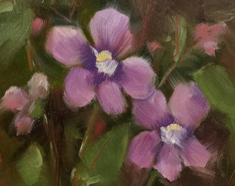 "Small Original Oil Painting, Violets, 4 x 4"", Unframed, Wall Art, Floral"