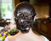 Wedding Hair Pin Crystal Flower Art Deco Vintage Style Bridal Hair Jewelry