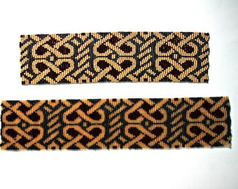 2 Patterns for 1 Price - Loom or 5 Drop Odd Peyote Bead Patterns - Celtic Hearts Cuff Bracelets