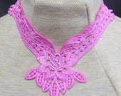 Blue or Pink rose applique necklace with beads