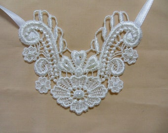 Ivory applique necklace, various pearl beads