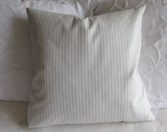 FRENCH TICKING pillow cover spa blue white 16x16 18x18 20x20 22x22 24x24 26x26