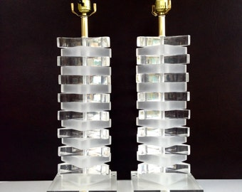 Pair of Stacked Lucite Table Lamps Mid Century Modern
