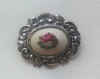 Vintage Brooch with Embroidery
