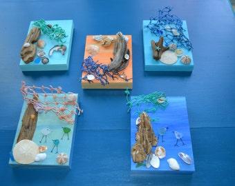 Wall Decor, Maine Coastal Wall Art, Driftwood, Sea Glass, Shells, 5