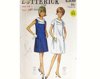 1960s Vintage Sewing Pattern - Butterick 4309 - Mod DRESS / A-Line Dress with Pockets / Size 14 Bust 34