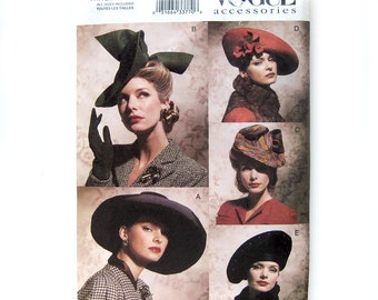 Vintage Style Hats - Vogue 7464 - Forties Fifties HATS Millinery - Vogue Accessories Pattern / One Size UNCUT