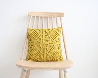 Mustard crochet pillowcase 30 x 30 cm