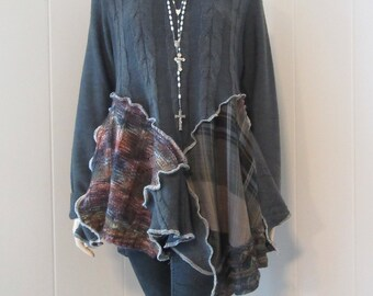 Lagenlook Tunic Womens Gray Sweater Knit Gray Cowl Neck Loose Boho Funky Eco-Chic One Size Fits S - L