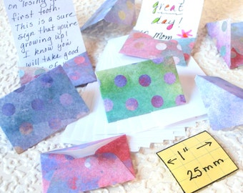 MIniature Envelopes and Stationery, Tiny stationery for use by and for Fairies, Elves and Humans,set of 8, multicolored