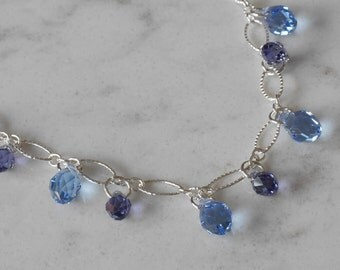 Sky Blue & Lavender Swarovski Briolette Necklace