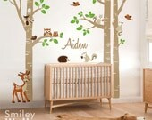 Birch Trees and Animals Wall Decal,  Woodland Animals Trees Wall Decal, Birch Trees Sticker for Nursery Kids Room Decor, Owls and Squirrels
