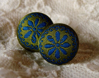 Fabric Covered Stud Earrings - Olive Green and Navy Blue Floral Post Earring Pair