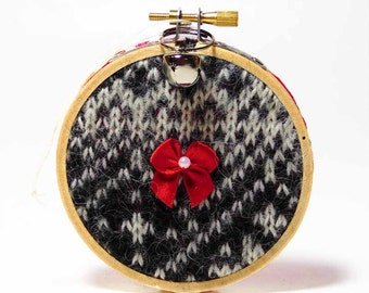 Cabin Christmas Decoration Recycled Sweater Ornament Christmas Keepsake Country Christmas Decoration Christmas Tree Ornament Rustic Ornament