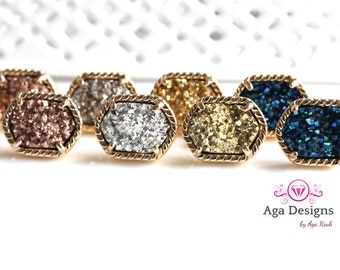 Druzy post earrings -  SALE -  Druzy Earrings - rich color - pick your color