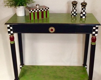 Whimsical Painted Furniture, Painted Console Table, Whimsical Painted Table, Console Table