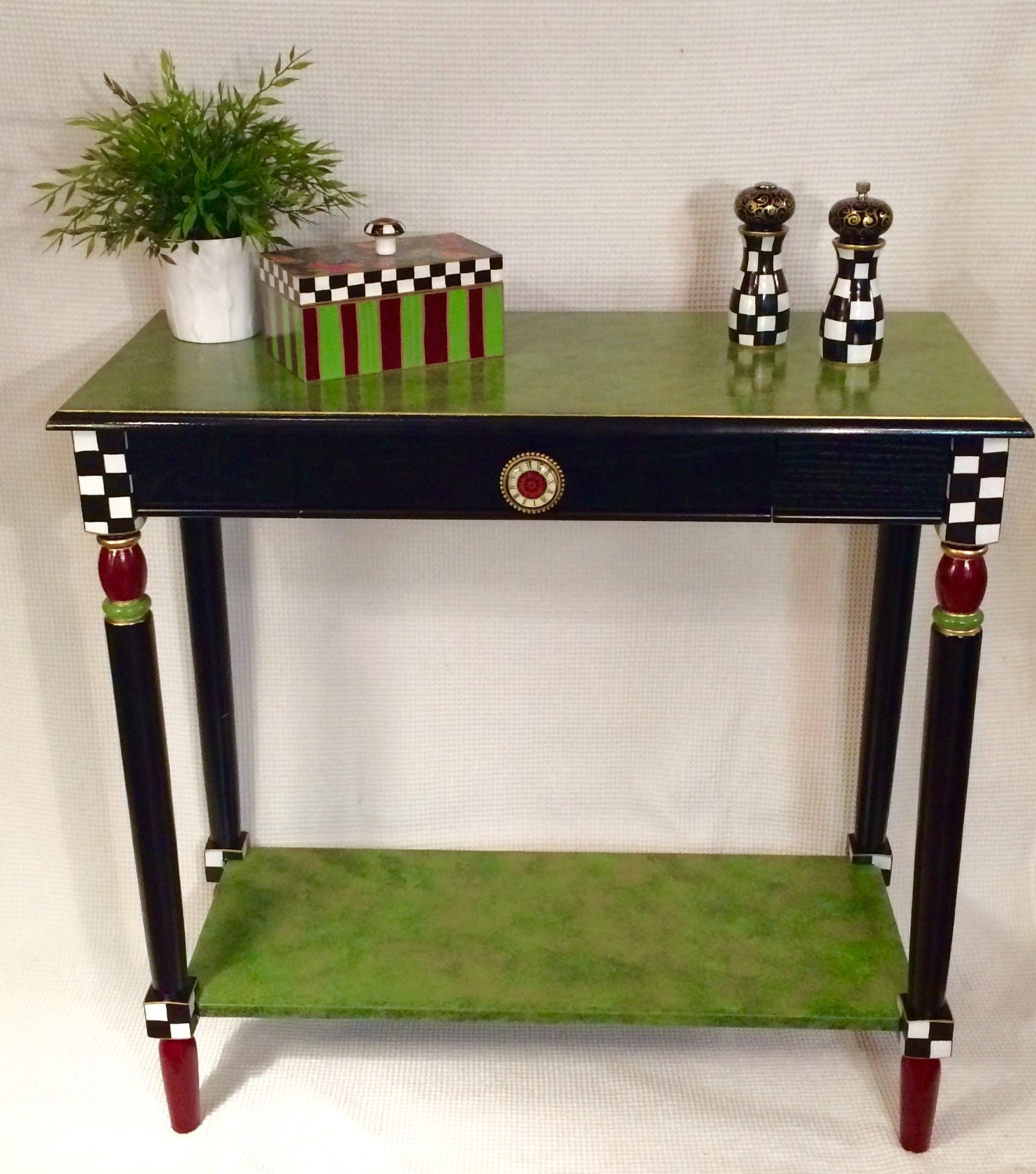 Whimsical painted furniture painted console table whimsical for Painting designs on wood furniture