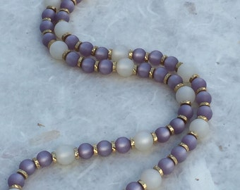 Vintage Napier Lavender and White Moon Glow Lucite Bead Necklace with Gold Tone Accents