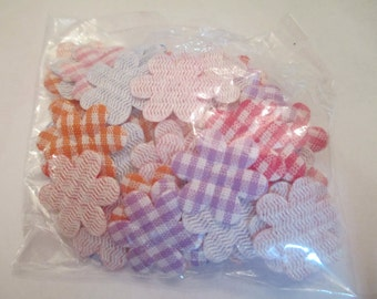 30+ Mixed Plaid Flower Appliques Sewing Craft Supplies
