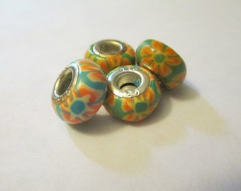 5 Flower Polymer Clay Euro Beads Craft Supplies