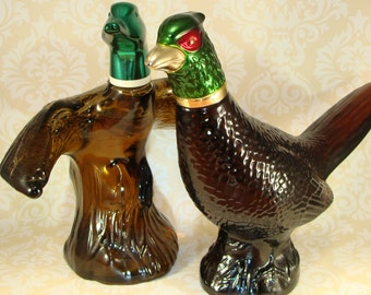 2 Avon Bottles Mallard in Flight Duck and Pheasant After Shave INSTANT COLLECTION Vintage 1970s Collectible Glass Decanters Hunting Cabin