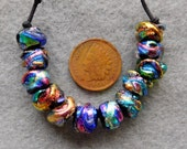 12 Unmatched  Bright Mini Baroque Dichroic Lampwork Beads by Dee Howl Beads