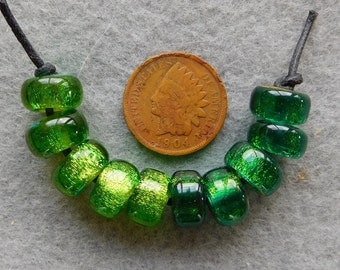 10 Dichroic Assorted Green Filler Beads in  handmade by DEE HOWL BEADS