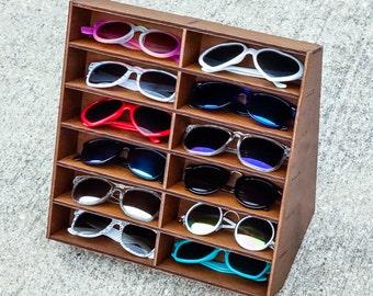 12ct Sunglasses Display Case Storage Holder Organizer Shelf Glasses Rack - HANDMADE In Texas (FREE Shipping to U.S.A)