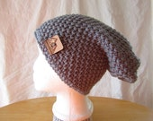 Crocheted Slouch Hat with Custom Button, Teen or Adult
